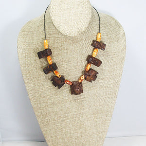 Wallis Wood Beaded Necklace Relevant front view