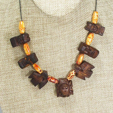 Load image into Gallery viewer, Wallis Wood Beaded Necklace close up view