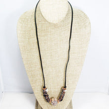 Load image into Gallery viewer, Valery Wire Design Fibre Bead Necklace relevant front view