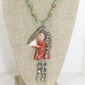 Jacelyn Christmas Angel Pendant Necklace close up view