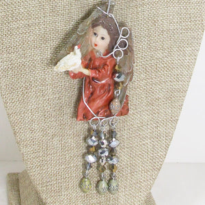 Jacelyn Christmas Angel Pendant Necklace blow up view