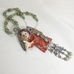 Jacelyn Christmas Angel Pendant Necklace flat view