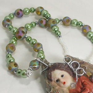 Jacelyn Christmas Angel Pendant Necklace clasp view