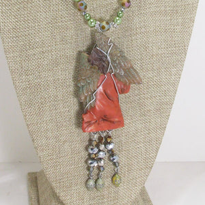 Jacelyn Christmas Angel Pendant Necklace back view