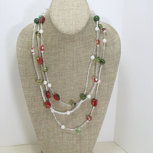 Abelarda Christmas Beaded Necklace relevant front view
