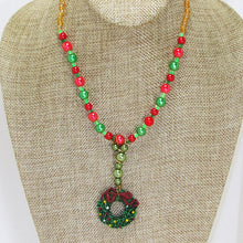 Load image into Gallery viewer, Bandi Beaded Christmas Necklace close up view