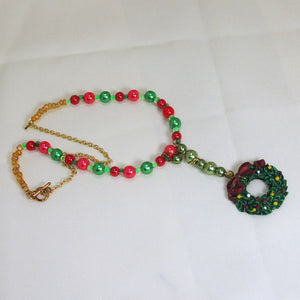 Bandi Beaded Christmas Necklace flat view