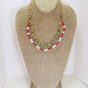 Daisha Beaded Christmas Necklace relevant front view
