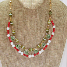 Load image into Gallery viewer, Daisha Beaded Christmas Necklace close up view