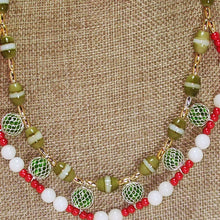 Load image into Gallery viewer, Daisha Beaded Christmas Necklace blow up view
