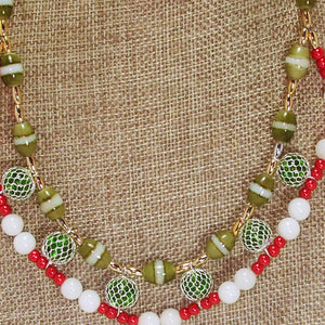 Daisha Beaded Christmas Necklace blow up view