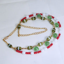 Load image into Gallery viewer, Daisha Beaded Christmas Necklace flat view