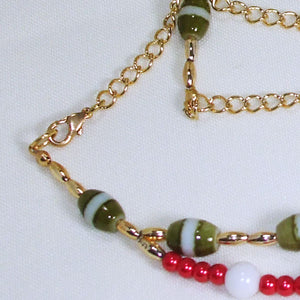 Daisha Beaded Christmas Necklace clasp view