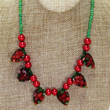 Load image into Gallery viewer, Ebony Beaded Christmas Necklace close up view