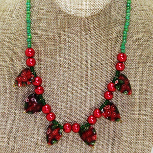 Ebony Beaded Christmas Necklace close up view