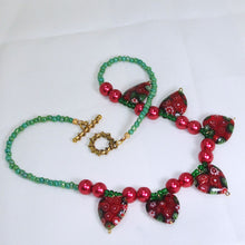 Load image into Gallery viewer, Ebony Beaded Christmas Necklace flat view