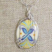 Load image into Gallery viewer, Kaeley Wire Wrap Polymer Clay Cabochon Pendant Necklace blow up view