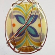 Load image into Gallery viewer, Kaeley Wire Wrap Polymer Clay Cabochon Pendant Necklace pin up view