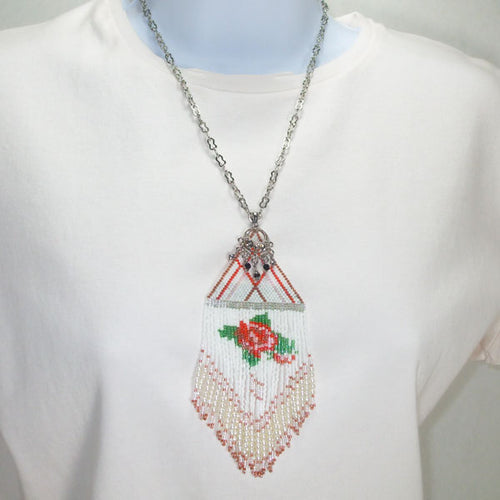 Ximena Beaded Fringe Pendant Necklace relevant front view
