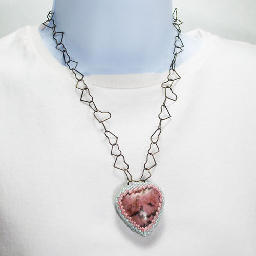 Zaltana  Beaded Heart Pendant Necklace relevant front view