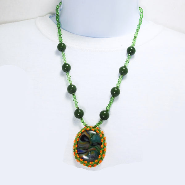 Xiomara Fused Glass Bead Embroidery Pendant Necklace relevant front view
