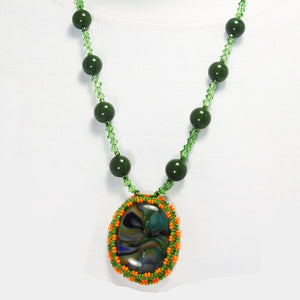 Xiomara Fused Glass Bead Embroidery Pendant Necklace close up view