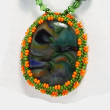 Load image into Gallery viewer, Xiomara Fused Glass Bead Embroidery Pendant Necklace blow up view