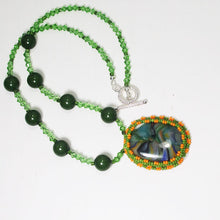 Load image into Gallery viewer, Xiomara Fused Glass Bead Embroidery Pendant Necklace flat view