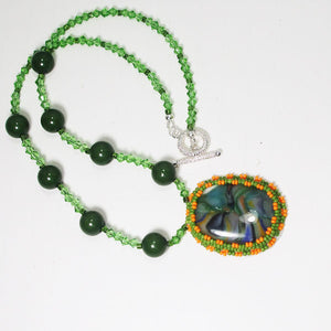 Xiomara Fused Glass Bead Embroidery Pendant Necklace flat view