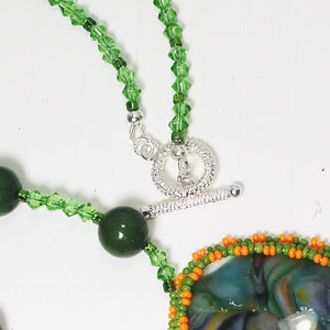 Xiomara Fused Glass Bead Embroidery Pendant Necklace clasp view