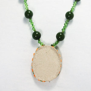 Xiomara Fused Glass Bead Embroidery Pendant Necklace back view