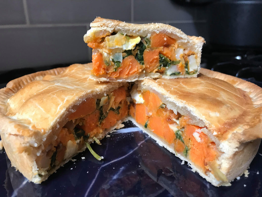 Sweet Potato, Spinach and Goats Cheese Pie