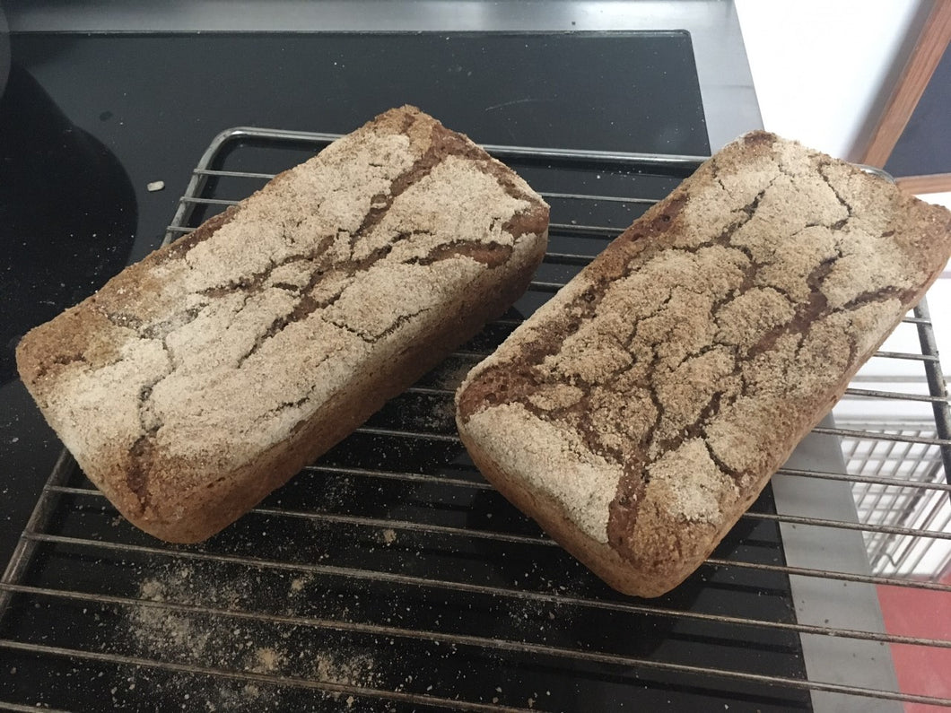 Wholemeal rye sourdough loaf, 600 grams.