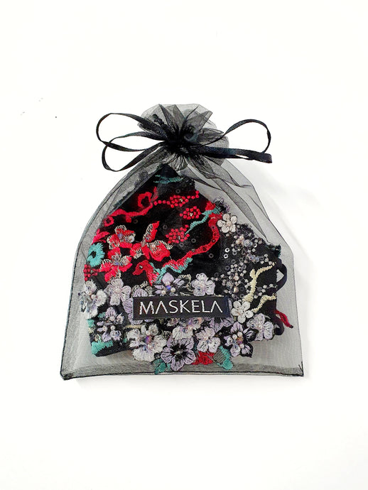 Midnight Garden Couture Mask I - Maskela Reusable Fashionable Face Masks