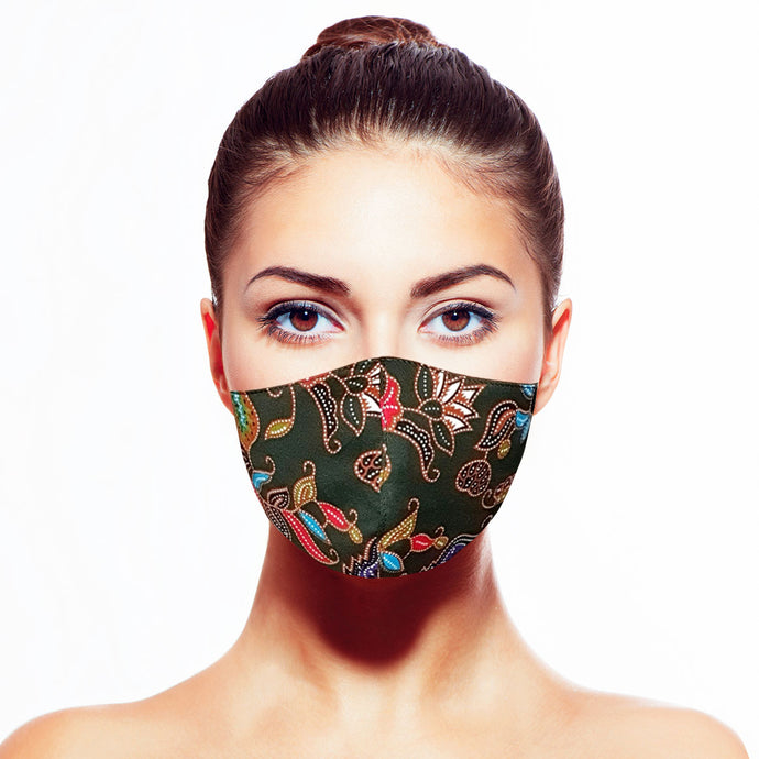 Batik Mask - Green - Maskela Reusable Fashionable Face Masks