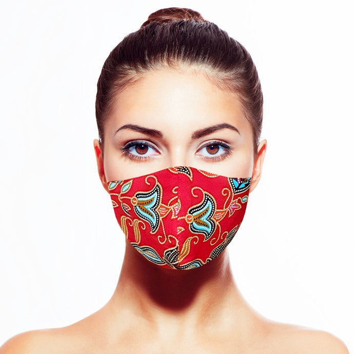 Batik Mask - Red - Maskela Reusable Fashionable Face Masks