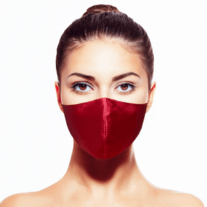 Silk Mask w/Crystal - Bordeaux - Maskela Reusable Fashionable Face Masks