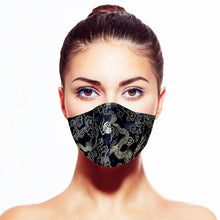 Load image into Gallery viewer, Dragon Mask - Black - Maskela Reusable Fashionable Face Masks