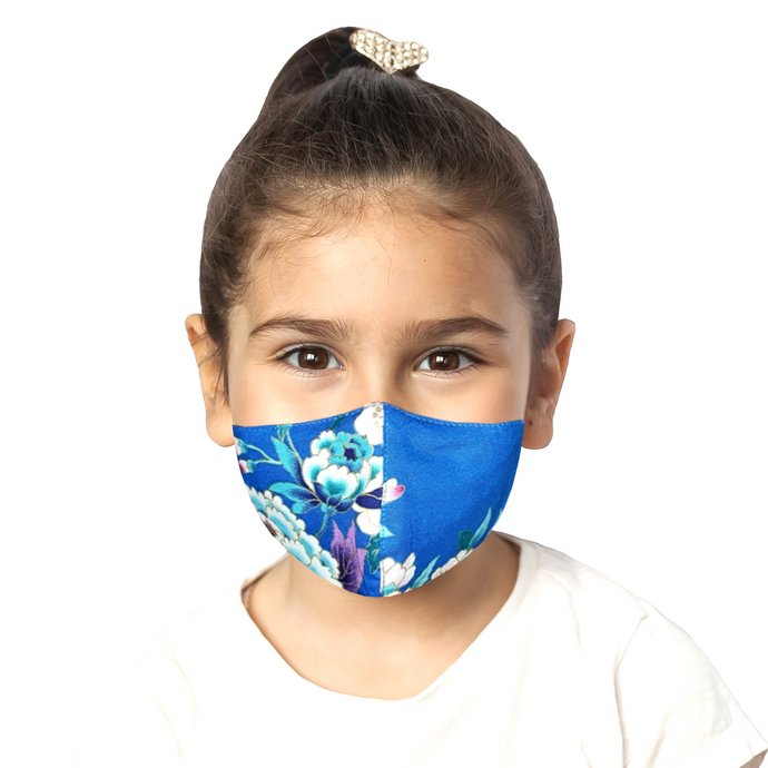 Kids Floral Mask - Blue - Maskela Reusable Fashionable Face Masks