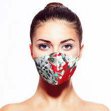Load image into Gallery viewer, Floral Mask - Red - Maskela Reusable Fashionable Face Masks
