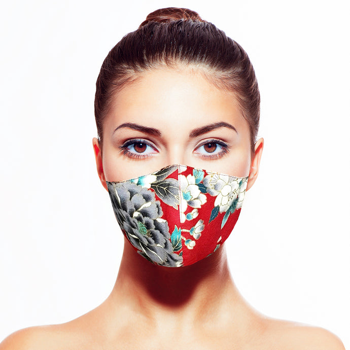 Floral Mask - Red - Maskela Reusable Fashionable Face Masks