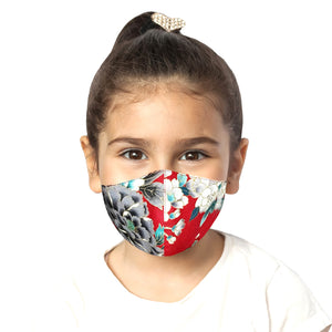 Kids Floral Mask - Red - Maskela