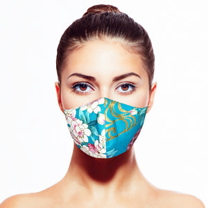 Floral Mask - Turquoise - Maskela Reusable Fashionable Face Masks