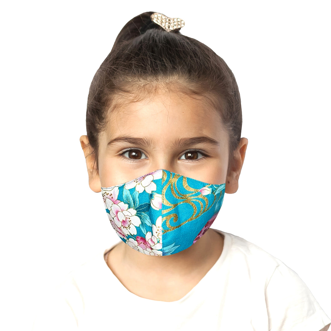 Kids Floral Mask - Turquoise - Maskela Reusable Fashionable Face Masks