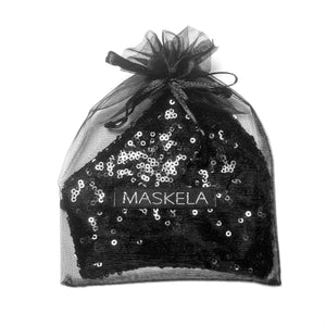 Sequin Mask - Shiny Black - Maskela Reusable Fashionable Face Masks