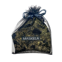 Load image into Gallery viewer, Lace Mask - Gold/Black - Maskela Reusable Fashionable Face Masks