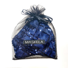 Load image into Gallery viewer, Sequin Mask - Abstract Navy - Maskela Reusable Fashionable Face Masks