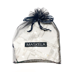 Sequin Mask - Abstract White - Maskela