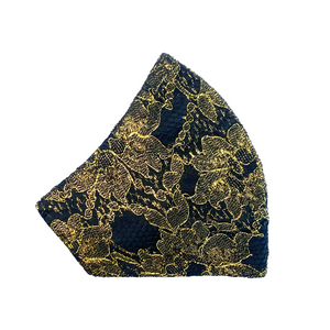 Lace Mask - Gold/Black - Maskela Reusable Fashionable Face Masks