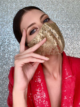 Load image into Gallery viewer, Sequin Glitter Mask - Gold - Maskela